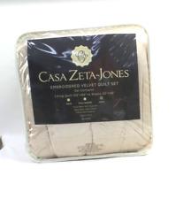 Casa Zeta-Jones Hollywood Regency Velvet Embroidered Quilt Champagne - New