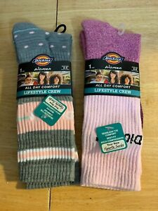 NWT Dickies Women's Lifestyle Grey and Pink Crew Socks - 2 Pairs - Shoe Size 6-9