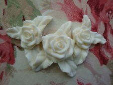 Shabby & Chic *Triple Rose* Furniture Applique Architectural Onlay
