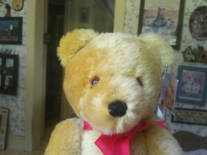 Large 1980s gold mohair Dean's London Gold Teddy Bear and bag UK 16in EUC