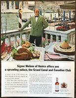 1964 Canadian Club Whisky Print Ad Signor Melone of Venice Palace Grand Canal