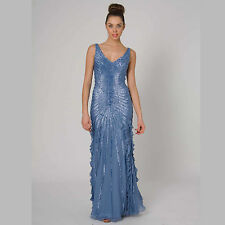 Stunning Beaded Silk Evening Dress Light Elegant Formal Gown size 14 Style RC45