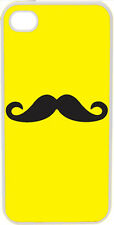 Plain Yellow and Black Mustache Design on iPhone 4 4s Case Cover