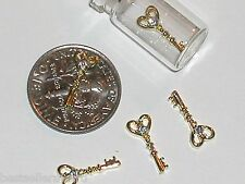 1pc. Miniature Dollhouse TINY little crystal Love Heart Key Pendant charm 5x12mm