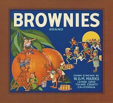 "RARE OLD ORIGINAL 1930'S HELPFUL ELVES ""BROWNIES BRAND"" BOX LABEL LEMON COVE CA"