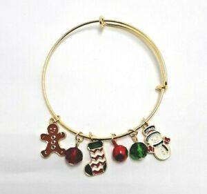 gingerbread snowman jingle bell Christmas Stocking charm bracelet gold tone