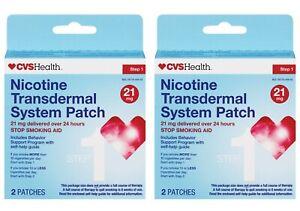 CVS Nicotine Transdermal System Patch, Step 1, 21mg, 2x2CT (4CT Total) Exp 7/21