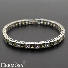 "Genuine AAA Hermosa Olive Peridot & WHITE CZ 925 Sterling Silver Bracelets 7"""