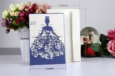 10PCS Blue Invitation Luxury Laser Cut Wedding Card Kit Personalized Printing