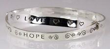 4030468 Faith Hope Love Hinged Bangle Bracelet Christian Scripture Religious