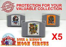 5X NINTENDO N64 JAPAN IMPORT CARTRIDGE -CLEAR PLASTIC PROTECTIVE BOX PROTECTOR