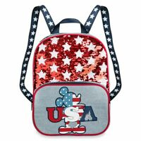 Disney Authentic Mickey Mouse Americana Reversible Sequin Adult Backpack NWT