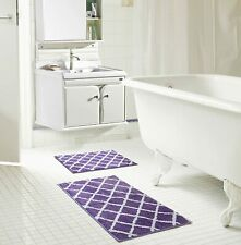 "Chester 2 PC Bath Set Jacquard Microfiber Rug RT 17 x 24 & 20 x 32"" Purple Brown"