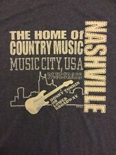 The Home Of Country Music Music City USA Nashville Blue T Shirt Size Large