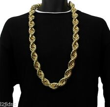 "14K Gold Plated Necklace Rope Chain 36"" Inch Length BIG FAT Thick 25mm"