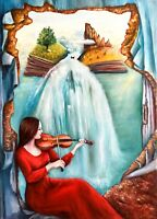 Music woman viola Surreal sea landscape painting original oil canvas 20 x 28