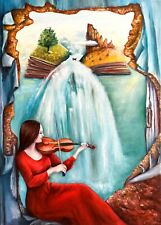 Music woman viola Surreal sea landscape painting original oil canvas 20 x 28