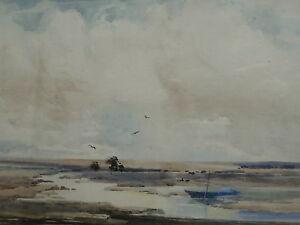 MUD FLATS LISTED ARTIST J S C McEWAN BROWN 1930,S FREE SHIPPING ENGLAND