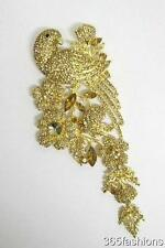 STATEMENT LARGE RHINESTONE CRYSTAL PARROT FLOWER BROOCH BLING GOLD