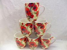 Set of 6 china mugs in red poppy chintz design aspen shape.