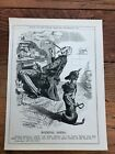 """1914 cartoon print """" doing nothing """" imperial dachshund and uncle sam !"""