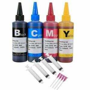 4x 100ML Refill bulk ink kit for HP Canon Lexmark Dell brother inkjet printer