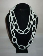 Vintage White Faux Pearl Glass Chain Link Design Fashion Necklace - FN0074