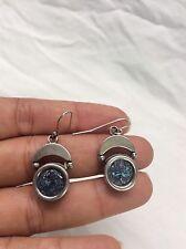 Beautiful Vtg Artisan Studio Sterling 925 Roman Glass dangle wire earrings