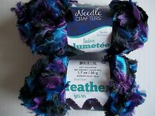 Needle Crafters Feather Boa fashion yarn, Regal Mix, lot of 2 (53 yds ea)