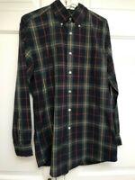 Orvis Mens Shirt Cotton Long Sleeve Plaid Button Down Collar Blue Green Size M