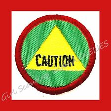 """SAFETY SENSE, Girl Scout World of Well Being Badge NEW Patch """"CAUTION"""" Combine"""
