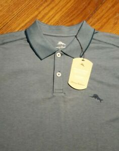 NWT New Men's Tommy Bahama Moisture Wicking Teal Polo Shirt Large or XL