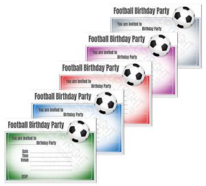 1-100 FOOTBALL BIRTHDAY PARTY INVITATIONS Cards Boys Girl Kids Invites Envelopes