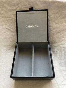 Chanel Empty Box Black Exotic Design Leather Box - Jewelry Keepsakes Accessories