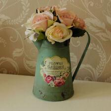 Floreros decorativos verdes de metal para el hogar