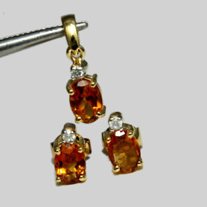 Real Citrine Stone 14K Yellow Gold Stud Earrings & Pendant Wedding Jewelry Set