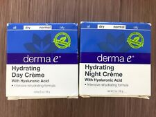 New Derma E Hydrating Night AND Day Creme w/ Hyaluronic Acid 100% Vegan 2oz Each