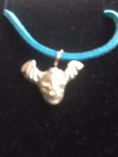"""Skull Bat TG329A Made In Fine English Pewter On 18"""" Blue Cord Necklace"""