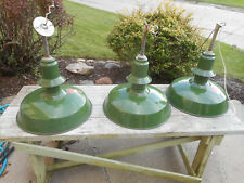 RARE Vintage Porcelain Industrial Green Gas Station w Case Light Shade Fixture