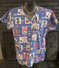 Absolute Nursing Scrub Top Blue Dog And Cat Pattern Women's Xl
