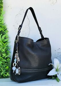 Vintage Coach black leather bucket shopper tote hobo purse handbag 11662 EUC
