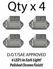 HEAVY DUTY LICENSE PLATE 6 LED LIGHT BOAT TRAILER RV TRUCK ATV - CHROME - QTY 4