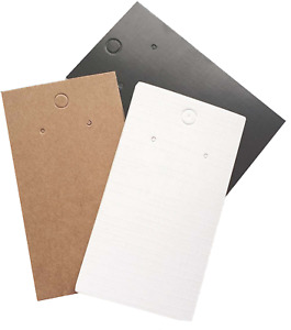 Jewellery Display Cards Earring Plain 9cm x 5cm  Black White Or Kraft Brown