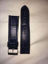 Cinturino In Vera Pelle Blu Mis. Ansa 22 Mm Effetto Coccodrillo come nuovo