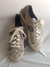 COACH Fillmore Sneaker Gray-Silver Leather w/Logo Fabric Size 6B
