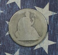 1876-S LIBERTY SEATED SILVER HALF DOLLAR COLLECTOR COIN. FREE SHIPPING.