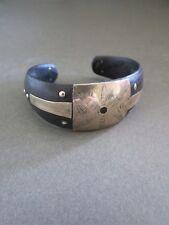 Vintage Cuff Bangle Bracelet Modernist Silver Tone Metal