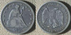 Twenty Cents : 1875LL F-VF/VF+ IRUS90A
