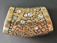 NWT WOMEN'S GOLD FASHION SCARF RING/SLIDER WITH CROSS PATTERN, CLEAR RHINESTONES