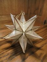 Vintage Large Opaque & Gold Star Shape Christmas Tree Ornament Holiday Decor  91